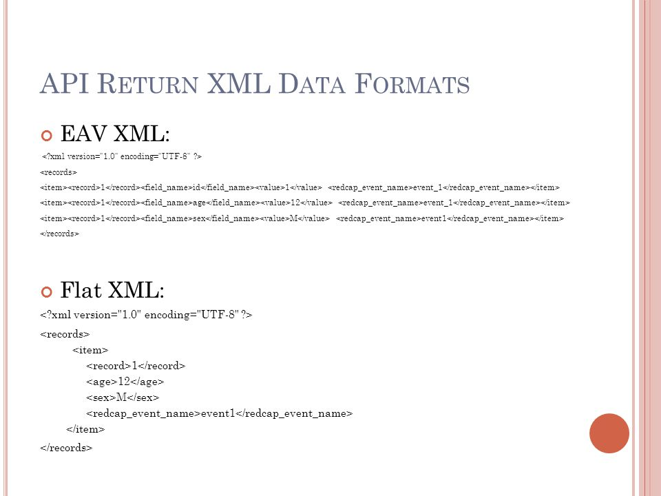 API Return XML Data Formats