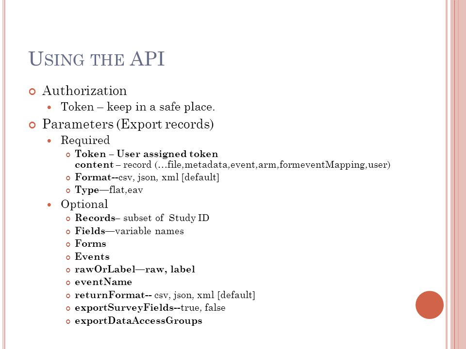 Using the API Authorization Parameters (Export records)