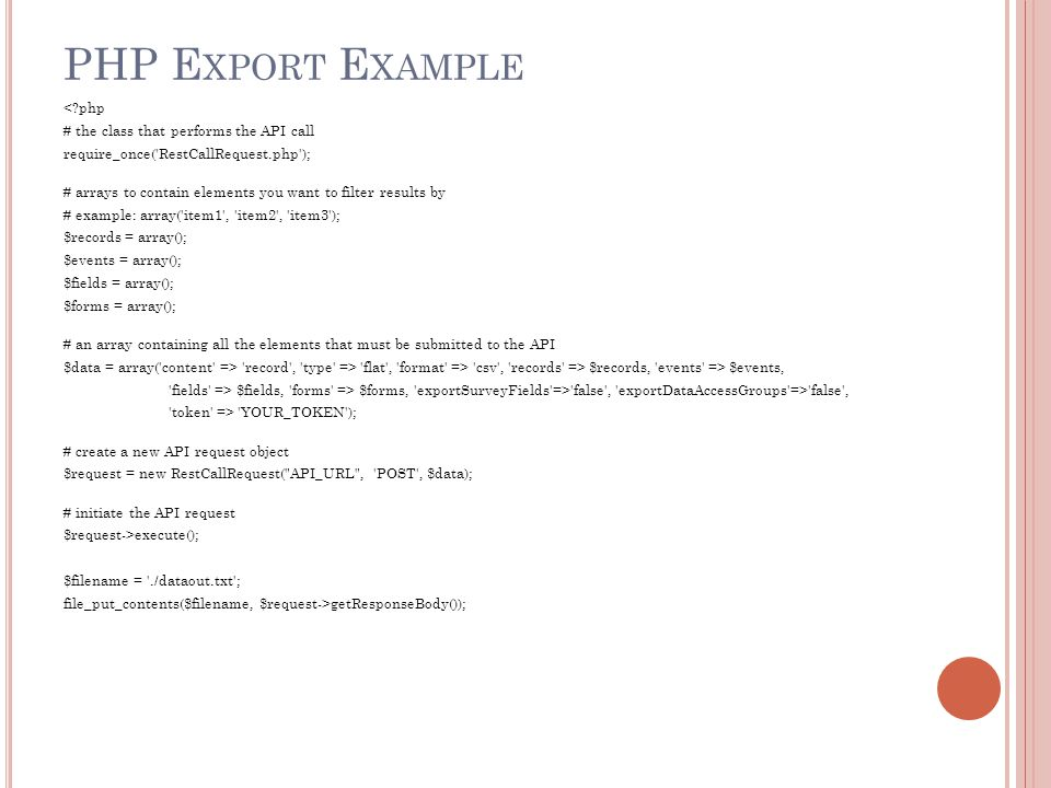 PHP Export Example