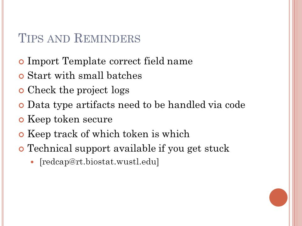 Tips and Reminders Import Template correct field name