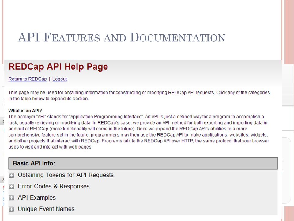 API Features and Documentation