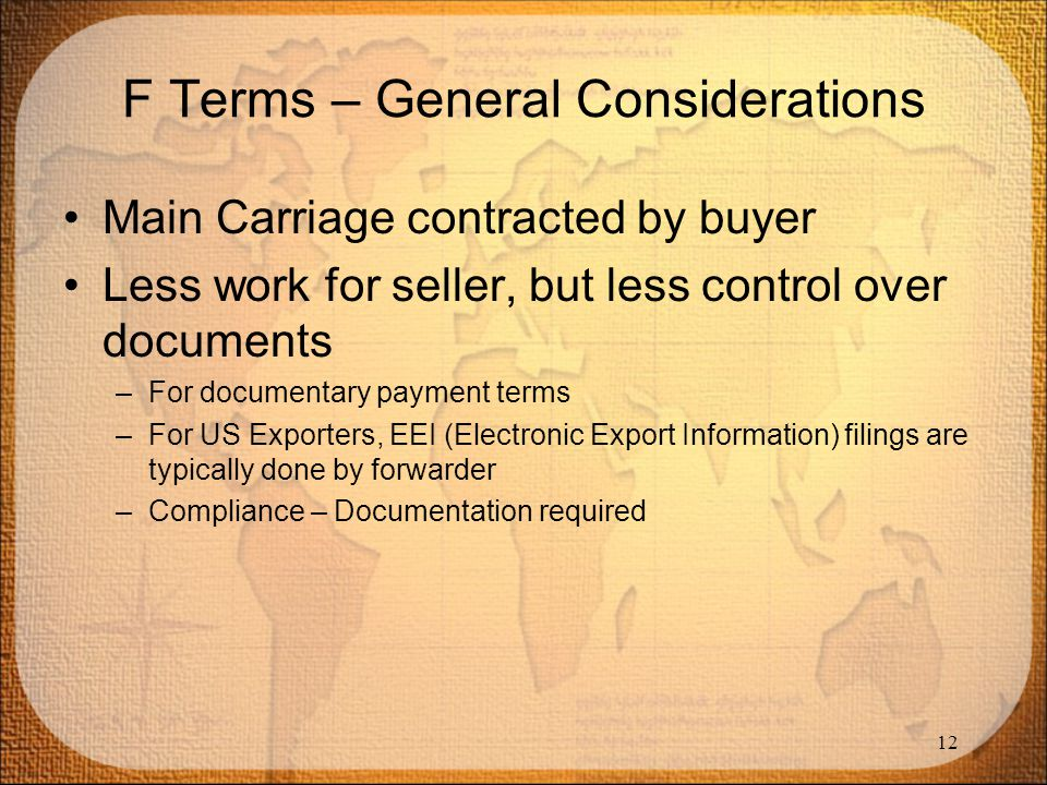 F Terms – General Considerations