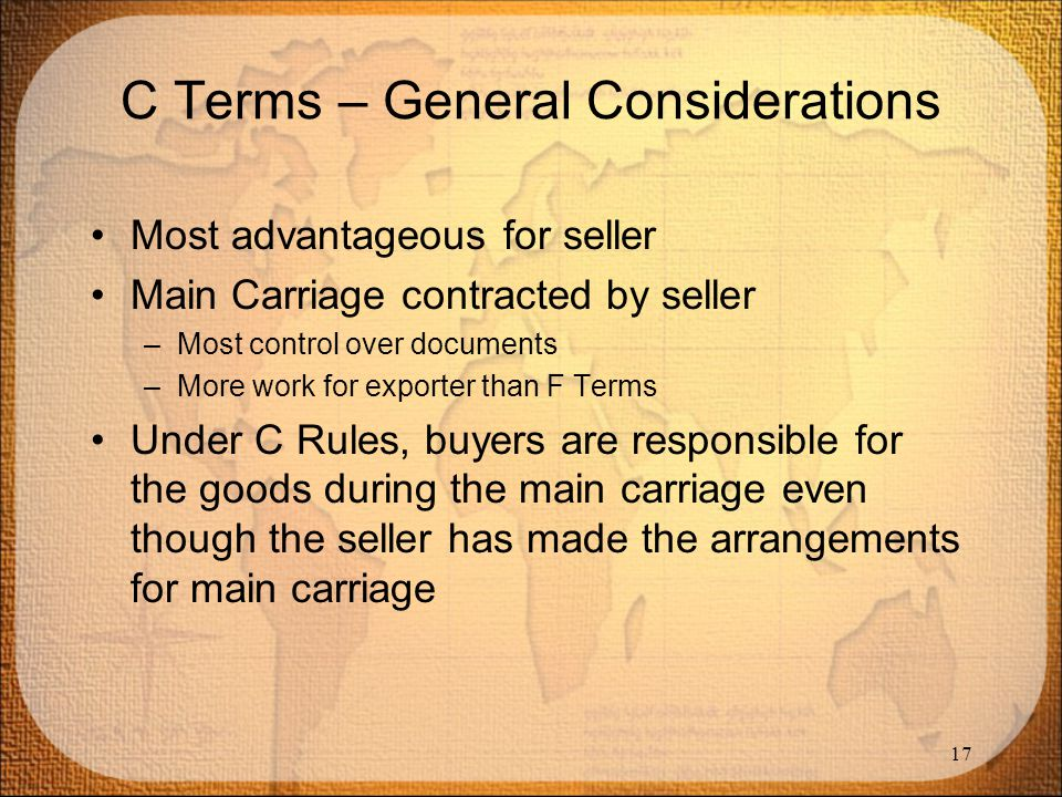 C Terms – General Considerations
