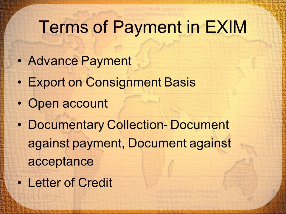 Terms of Payment in EXIM