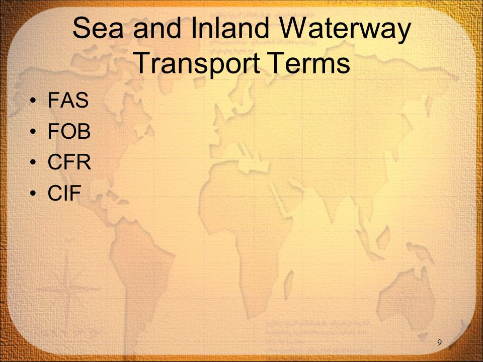 Sea and Inland Waterway Transport Terms