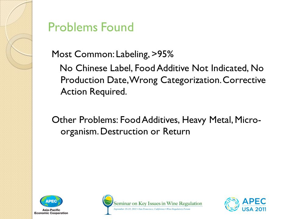 Problems Found Most Common: Labeling, >95%