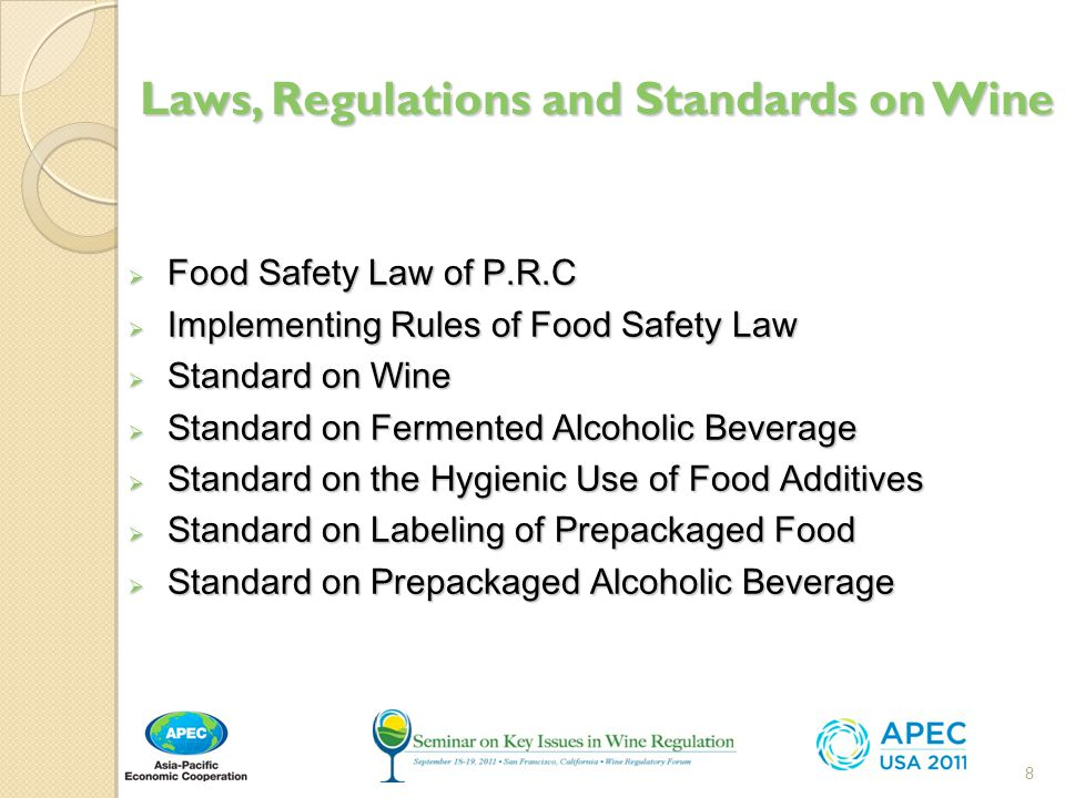 Laws, Regulations and Standards on Wine