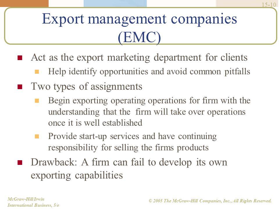 Export management companies (EMC)