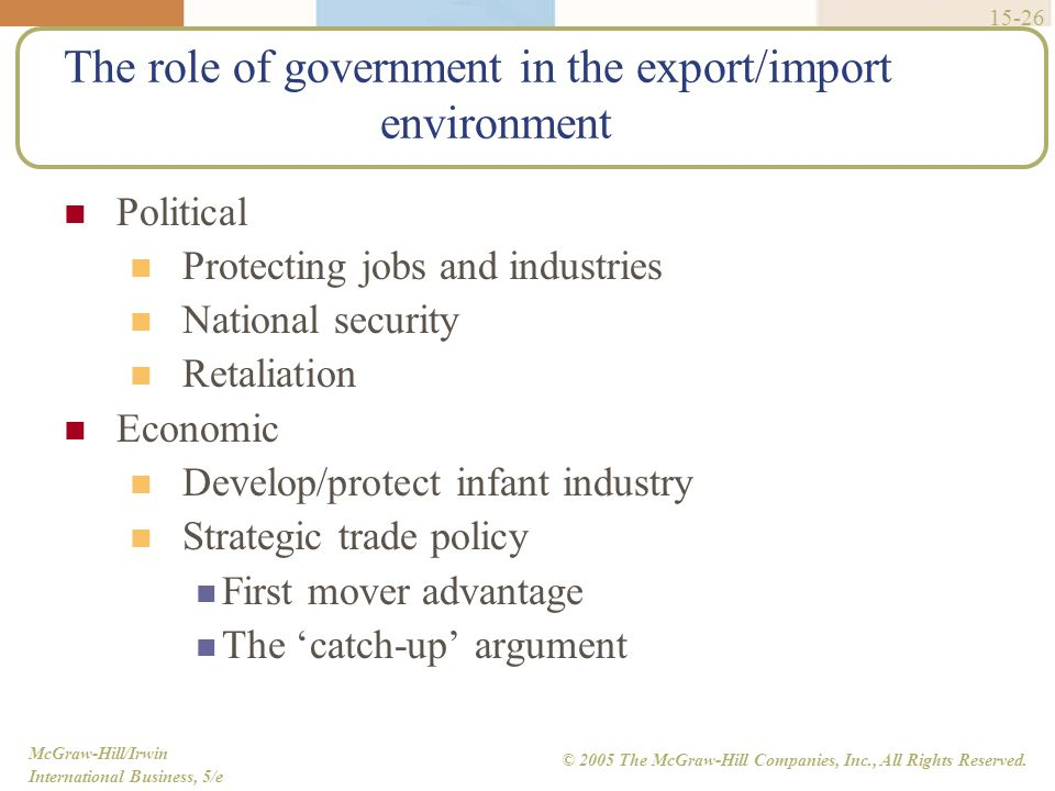 The role of government in the export/import environment