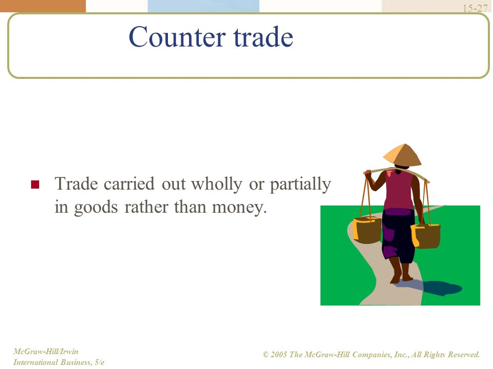 Counter trade Trade carried out wholly or partially in goods rather than money.