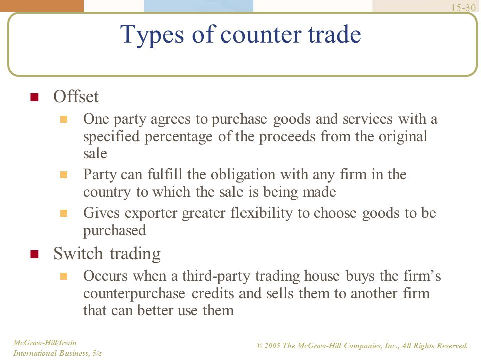 Types of counter trade Offset Switch trading
