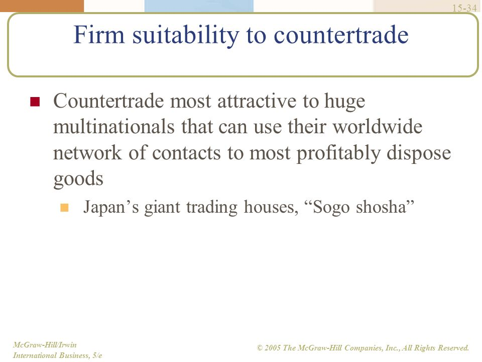 Firm suitability to countertrade