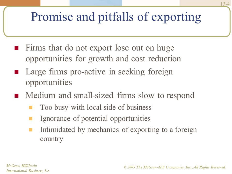 Promise and pitfalls of exporting
