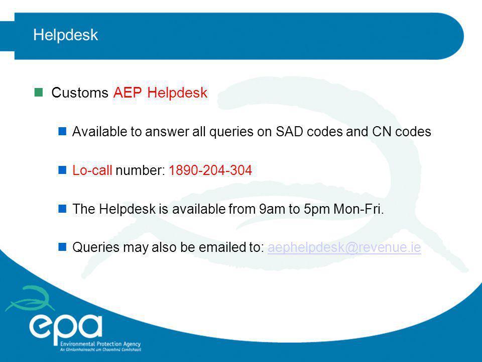 Helpdesk Customs AEP Helpdesk