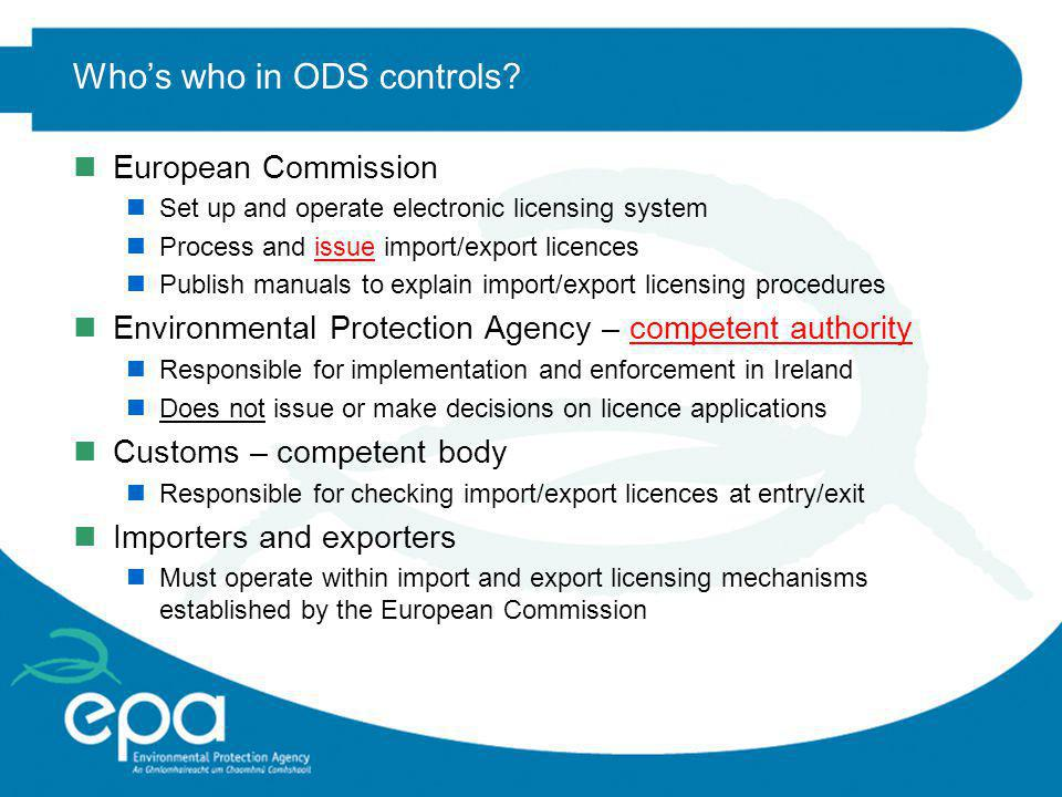 Who's who in ODS controls