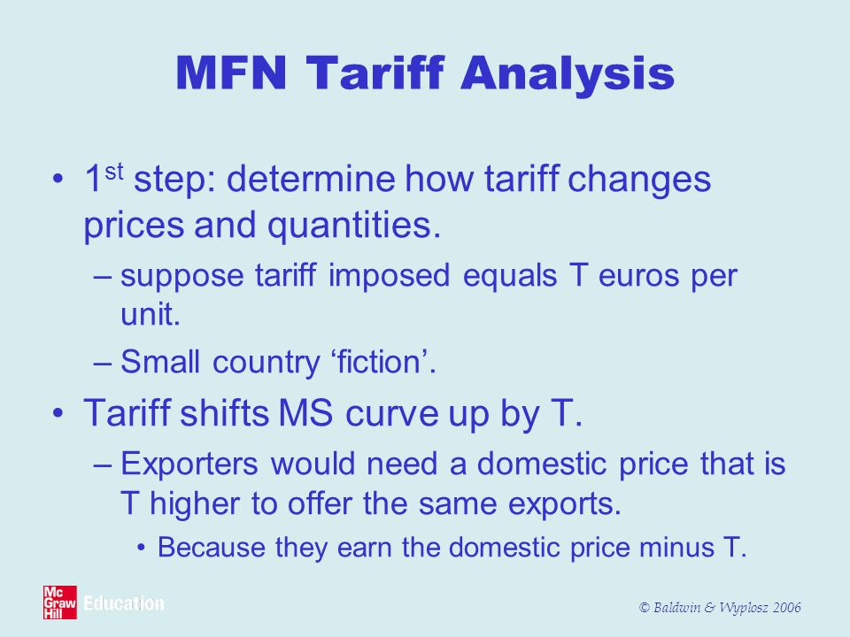 MFN Tariff Analysis 1st step: determine how tariff changes prices and quantities. suppose tariff imposed equals T euros per unit.