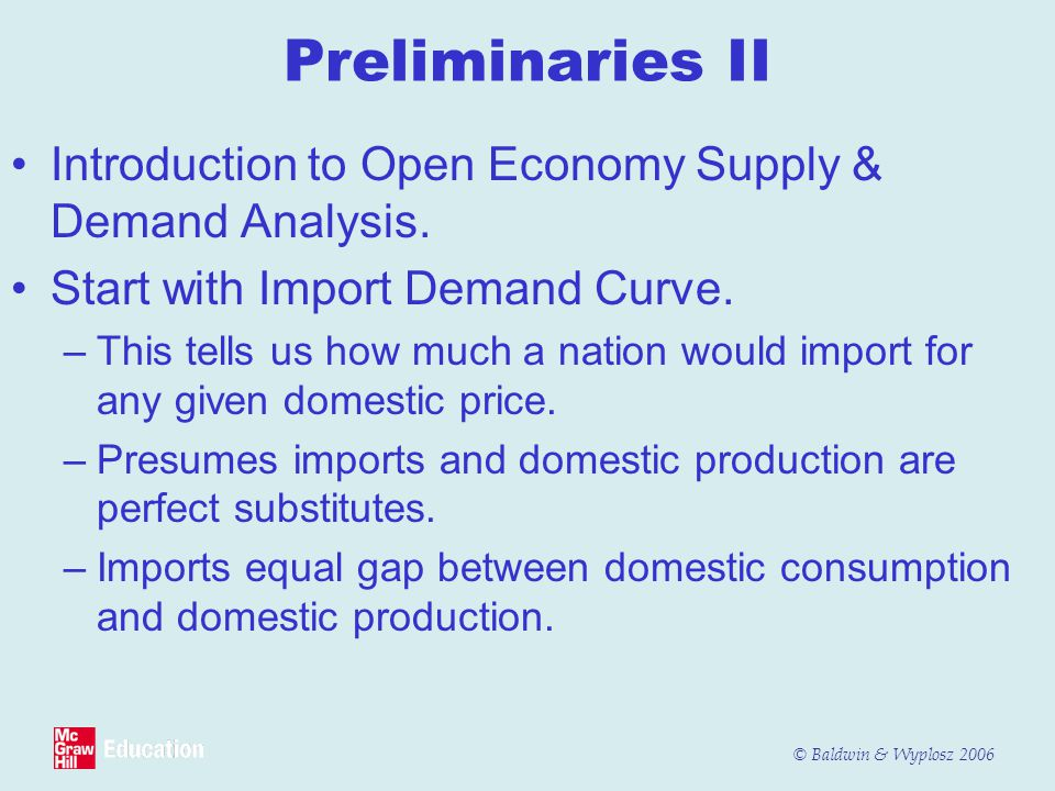 Preliminaries II Introduction to Open Economy Supply & Demand Analysis. Start with Import Demand Curve.