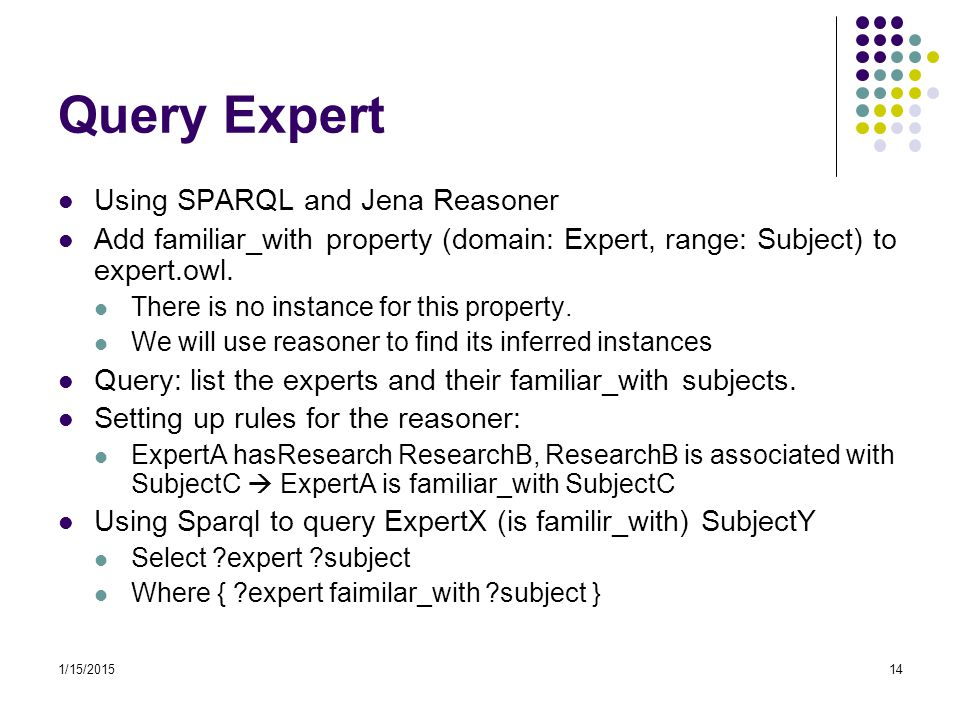 Query Expert Using SPARQL and Jena Reasoner