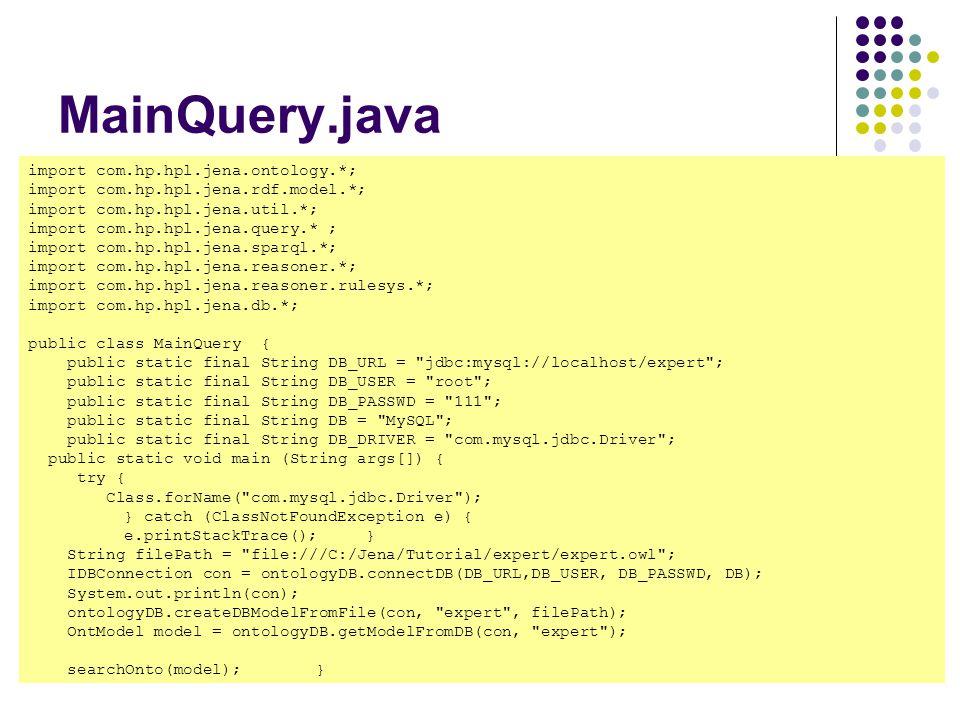MainQuery.java import com.hp.hpl.jena.ontology.*;