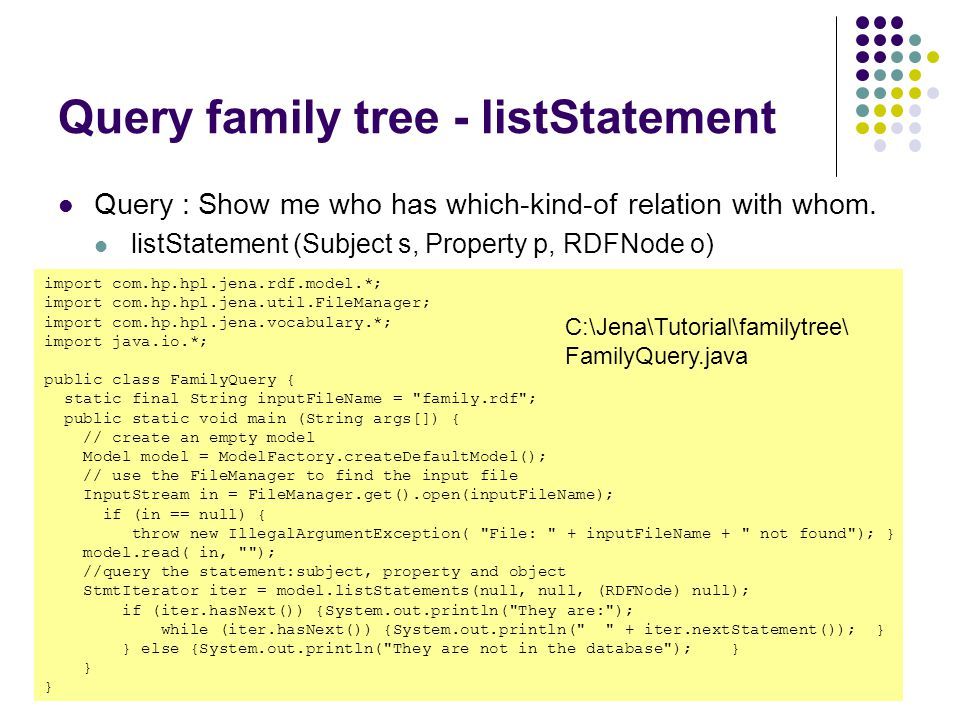 Query family tree - listStatement