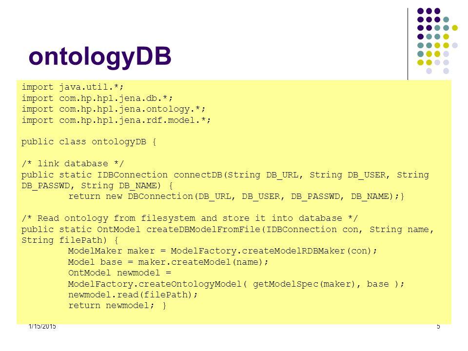 ontologyDB import java.util.*; import com.hp.hpl.jena.db.*;