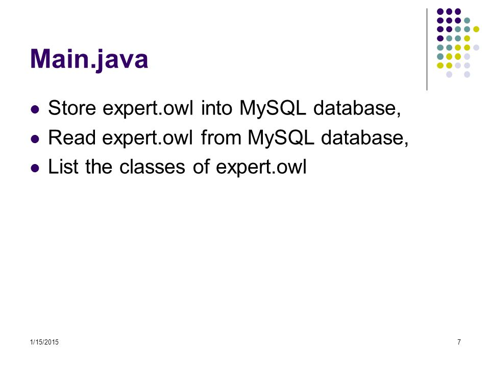 Main.java Store expert.owl into MySQL database,