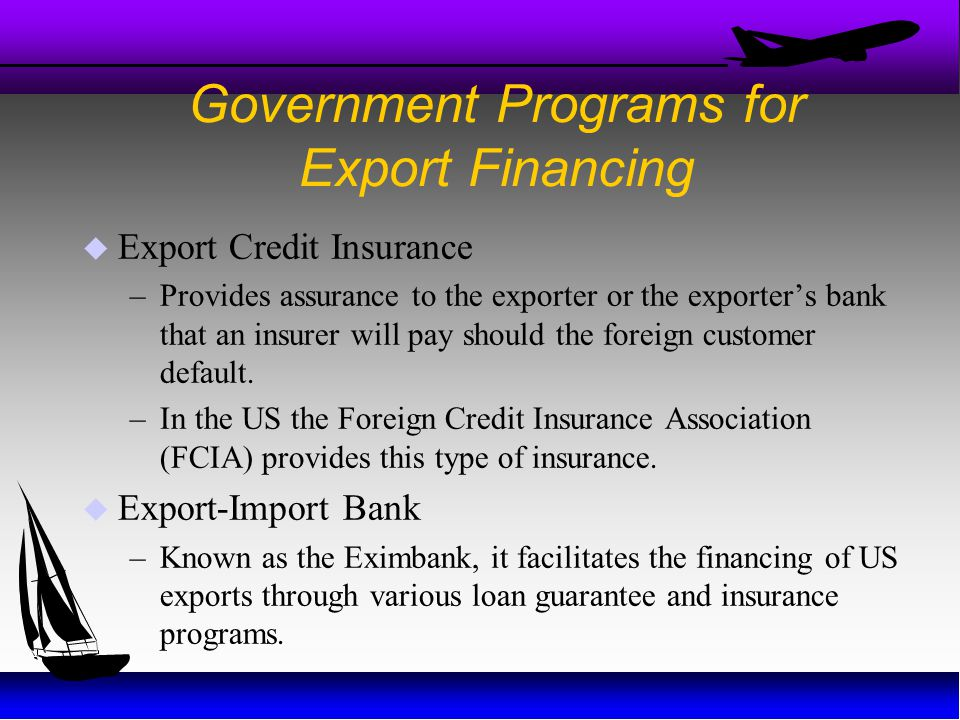 Government Programs for Export Financing