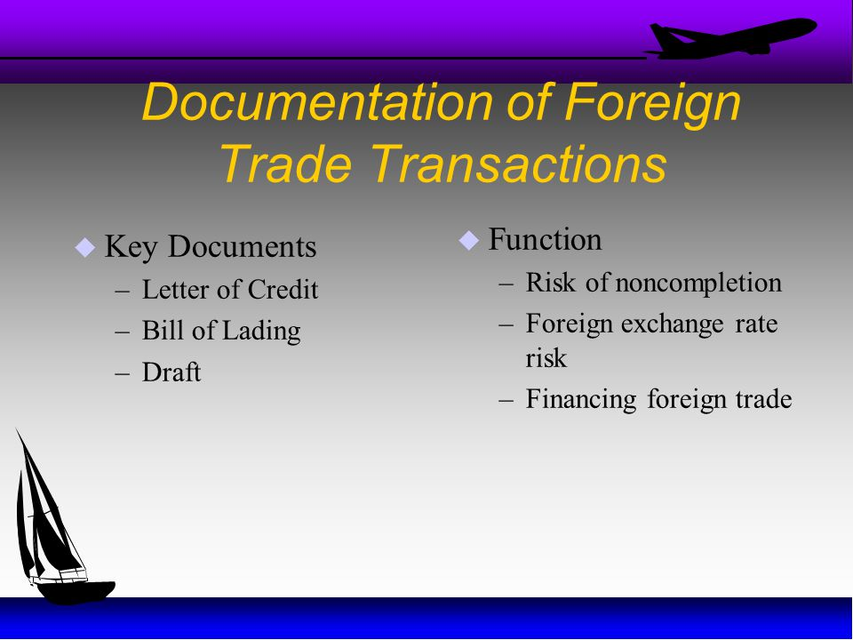 Documentation of Foreign Trade Transactions