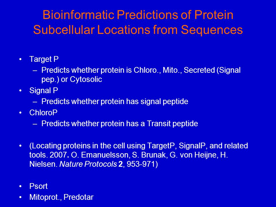 Bioinformatic Predictions of Protein Subcellular Locations from Sequences