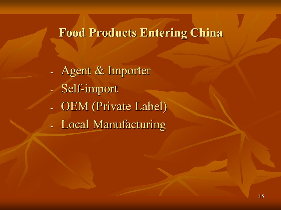 Food Products Entering China
