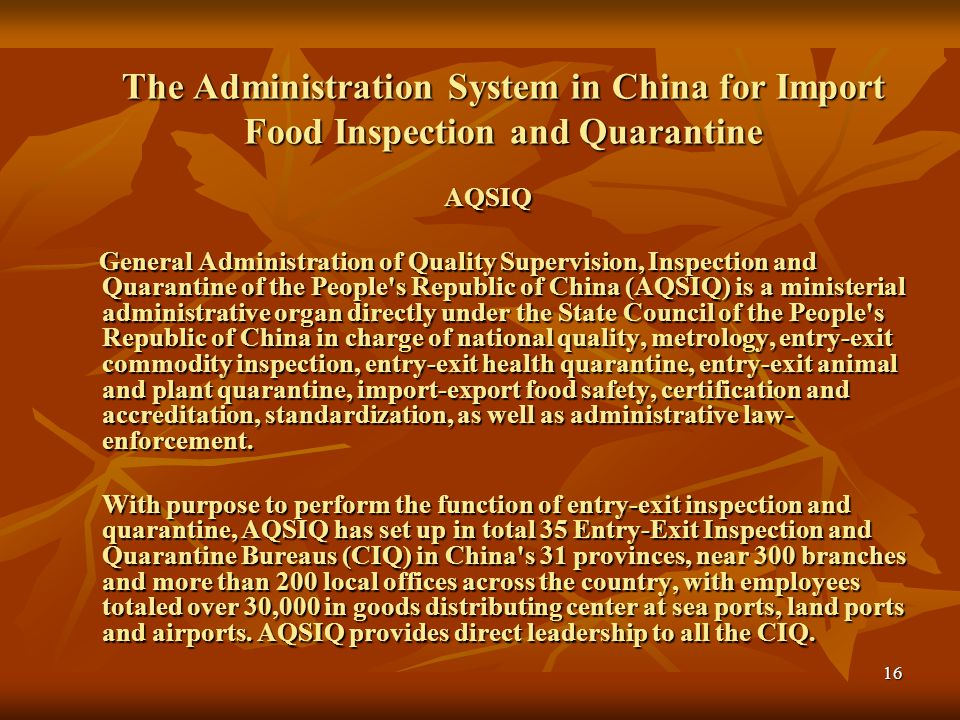 The Administration System in China for Import Food Inspection and Quarantine