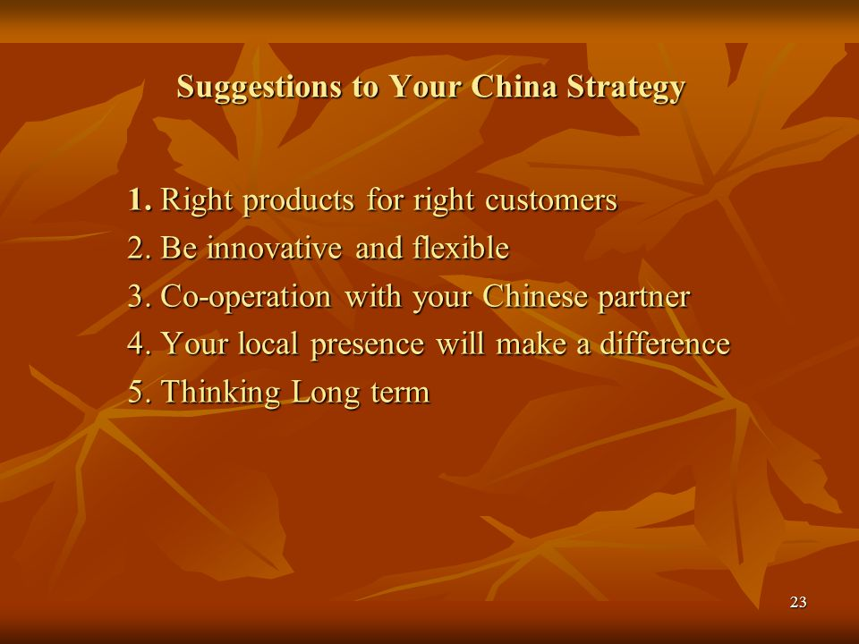 Suggestions to Your China Strategy