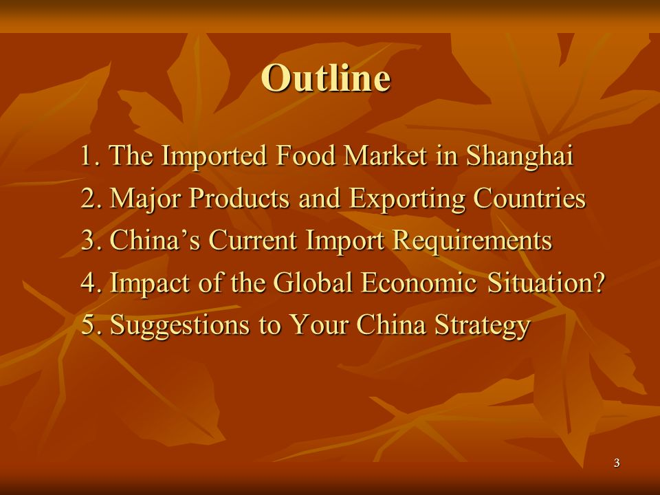 Outline 2. Major Products and Exporting Countries