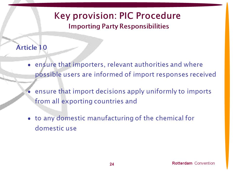 Key provision: PIC Procedure Importing Party Responsibilities