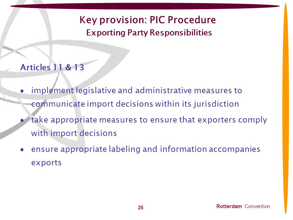Key provision: PIC Procedure Exporting Party Responsibilities