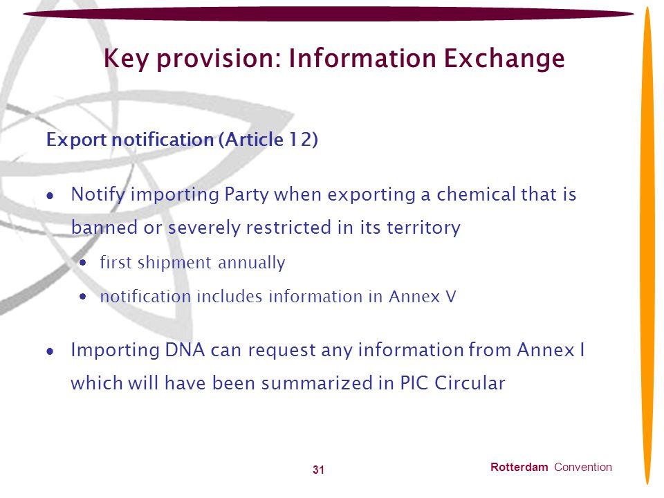 Key provision: Information Exchange