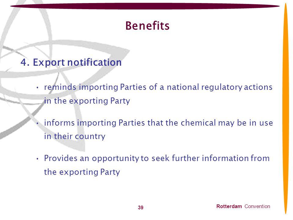 Benefits 4. Export notification