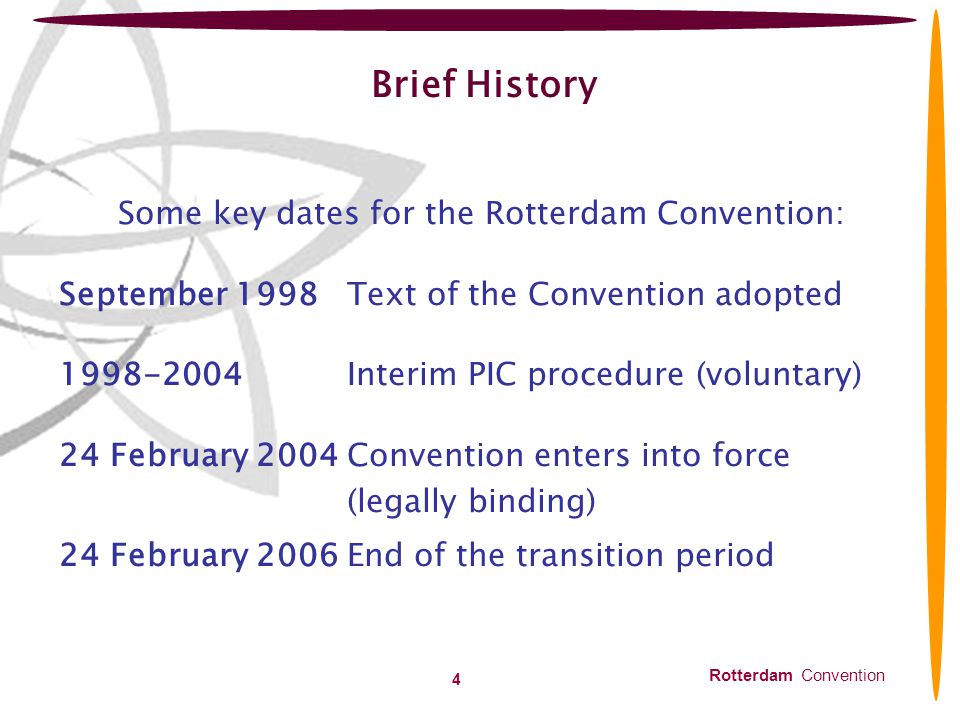 Some key dates for the Rotterdam Convention: