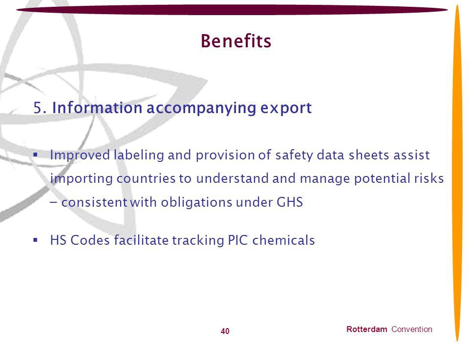 Benefits 5. Information accompanying export