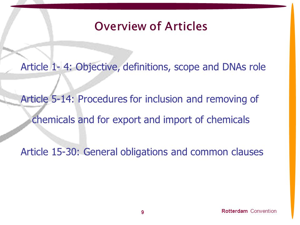 Overview of Articles Article 1- 4: Objective, definitions, scope and DNAs role.