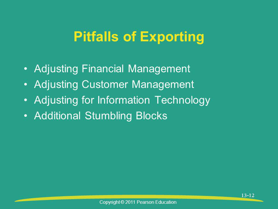 Pitfalls of Exporting Adjusting Financial Management