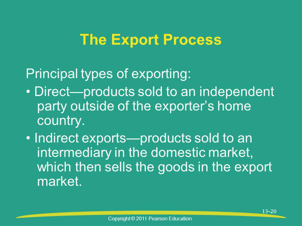 The Export Process Principal types of exporting: