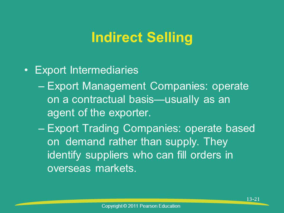 Indirect Selling Export Intermediaries