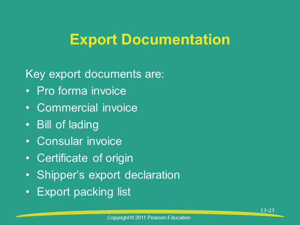 Export Documentation Key export documents are: Pro forma invoice