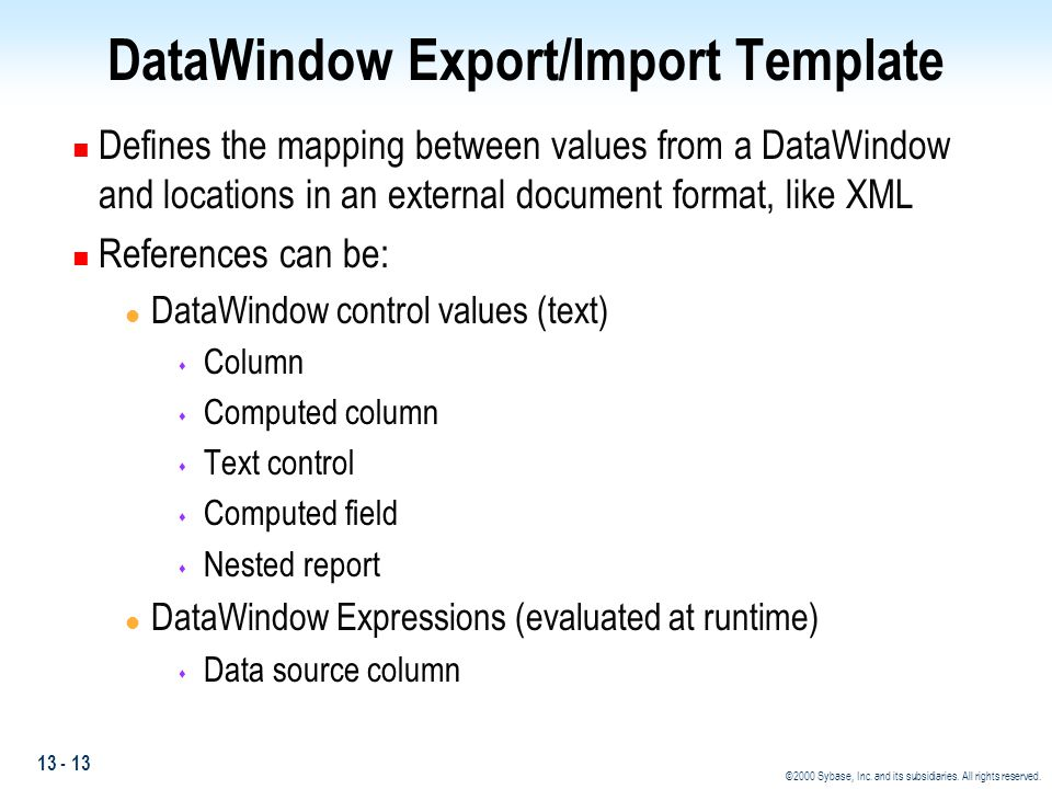 DataWindow Export/Import Template