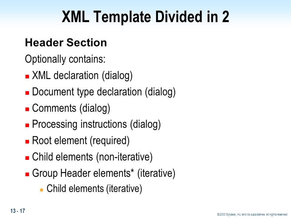 XML Template Divided in 2