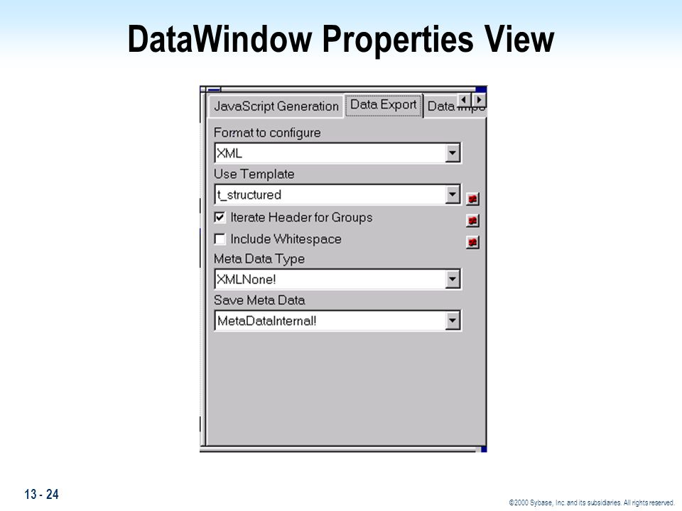 DataWindow Properties View