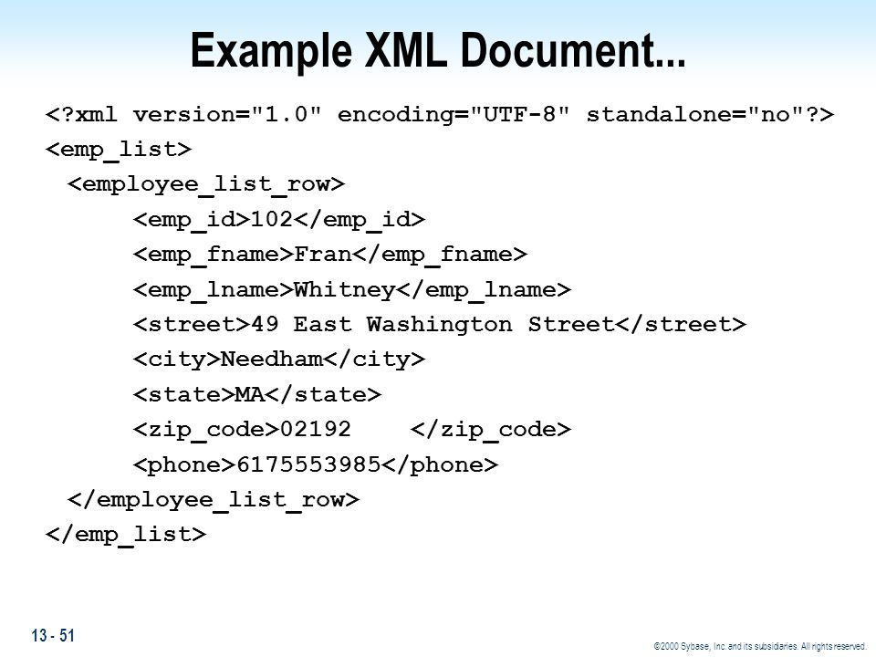 Example XML Document... < xml version= 1.0 encoding= UTF-8 standalone= no > <emp_list> <employee_list_row>