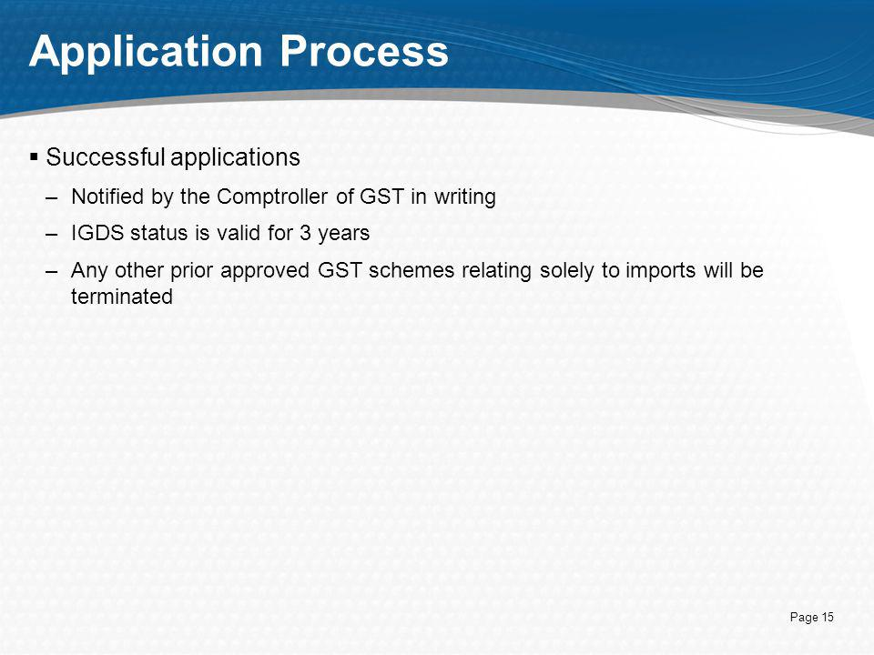 Application Process Successful applications