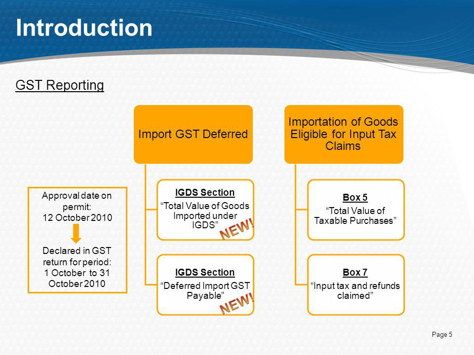 Introduction GST Reporting NEW! NEW!